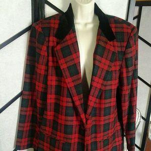 Sag Harbor Red Plaid  Blazer Riding Jacket  Plus